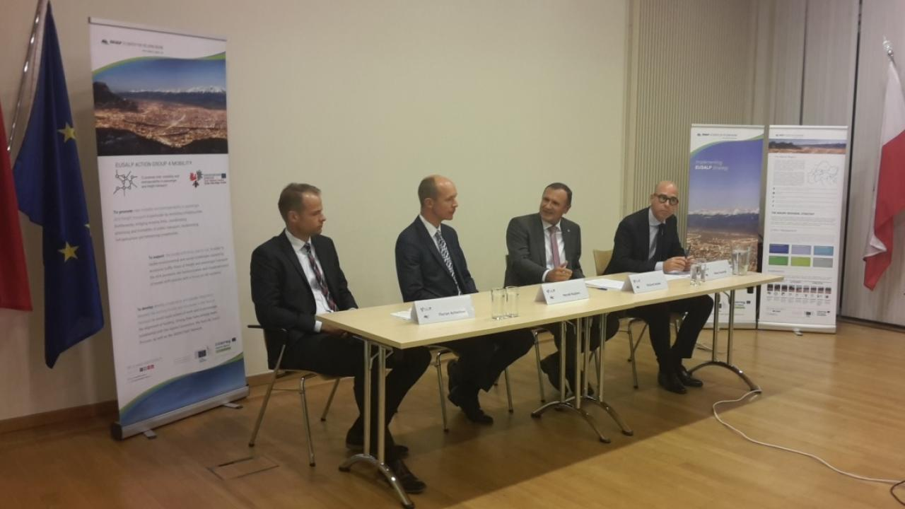 EUSALP AG4 Roundtable Discussion with Olivier Baudelet (DG Regio), Richard Seeber (Tyrol office Brussels), Herald Ruijters (DG Move), Florian Achleitner (CoR COTER)